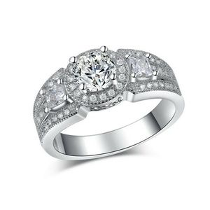 925 SP Round Cut CZ Halo Engagement Ring-size-6